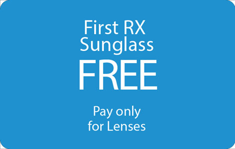 Get first Rx sunglasses free, pay only for lenses